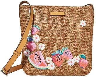 Vera Bradley Straw Crossbody (Dark Brown Fruit) Handbags