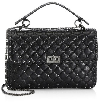 Valentino Large Rockstud Spike Leather Shoulder Bag