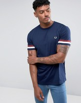 Fred Perry Striped Cuff T-Shirt in Blue