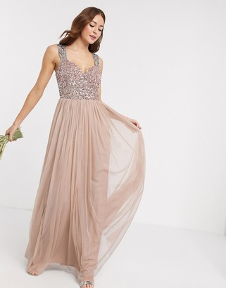 Maya Bridesmaid allover contrast sequin bust maxi dress in taupe blush