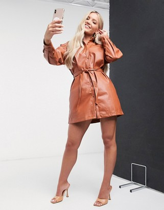 Saint Genies oversized belted pu shirt dress in tan