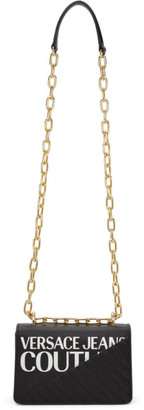 Versace Jeans Couture Black Faux-Leather Logo Chain Bag