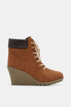 Ardene Faux Leather Wedge Ankle Boots - Shoes |