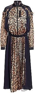 Sacai Women's Leopard Satin & Chiffon Pleated Dress