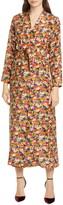 Roseanna Floral Print Long Sleeve Silk Faux Wrap Midi Dress