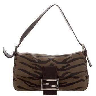 0568a91a1c9 Fendi Leather-Trimmed Animal Print Baguette