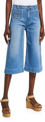 See by Chloe Braided-Pocket Cropped Wide-Leg Denim Pants