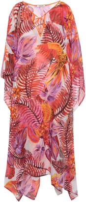 Roberto Cavalli Belted Printed Cotton And Silk-blend Kaftan