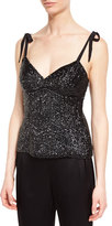 Escada Eve Sequined V-Neck Bustier, Black