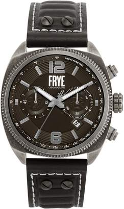 Frye Moto Engineer Stainless Steel Leather-Strap Chronograph Watch