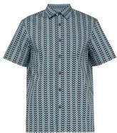 Prada - Chevron Print Short Sleeved Cotton Shirt - Mens - Blue Multi