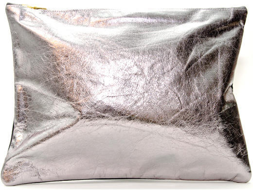 Sarah Baily Gunmetal & Black Leather Maxi Clutch