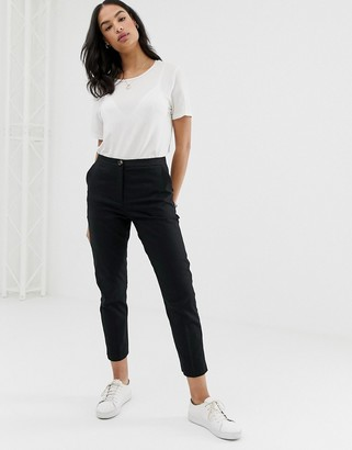 Asos Design DESIGN Linen Clean Cigarette Pants-Black