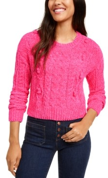 Ultra Flirt Juniors' Cropped Chenille Sweater