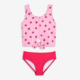 Joe Fresh Kid Girls' Print Tankini Swim Set, Pink (Size S)