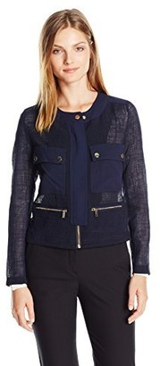Jones New York Women's 4 Pocket Jacket with Snap Detail
