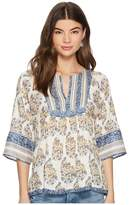Lucky Brand Mixed Print Peasant Top Women's Clothing