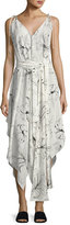 Diane von Furstenberg Sleeveless Scarf Hem Midi Dress, White