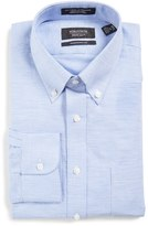 Nordstrom Men's Traditional Fit Houndstooth Linen & Cotton Dress Shirt