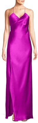 Mason by Michelle Mason Strappy Silk Wrap Gown
