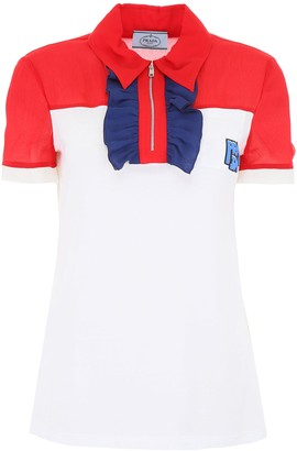 Prada Silk Insert Polo Shirt
