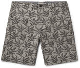 Club Monaco Maddox Geo Leaf Embroidered Stretch Linen And Cotton-blend Shorts - Army green