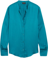 Tom Ford Silk-satin Blouse - Petrol