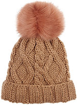 Barneys New York WOMEN'S CABLE-KNIT POM-POM EMBELLISHED HAT-TAN
