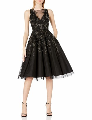 Aidan Mattox Aidan Women's Sleeveless Beaded Tea Length Dress
