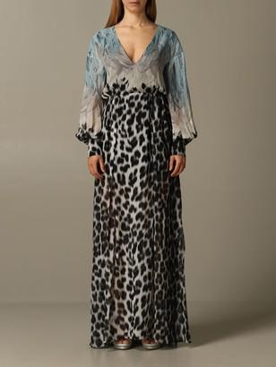 Just Cavalli Long Dress In Printed Chiffon