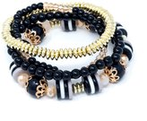 ISAACSONG.DESIGN 4PCS Stretch Bracelet for Women with Beads Healing Crystal Charms Bohemian Multilayer Style