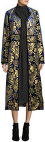 Tory Burch Thelma Cosmic-Foil Velvet Long Jacket