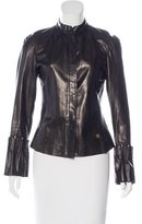 Roberto Cavalli Leather Mock Neck Jacket
