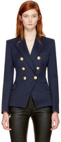 Balmain Navy Wool Classic Six-Button Blazer