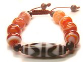 Wagga Shop BB98D Tiger Tooth Motif Tibetan New Dzi Bead 14mm Light Red Banded Agate Beads Knot Bracelet, Women Bracelet
