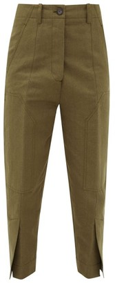 colville Slit-cuff Cotton And Linen-blend Cargo Trousers - Khaki