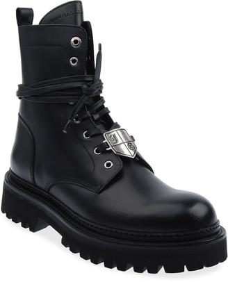 John Galliano Paris Men's Crest Logo Leather Combat Boots