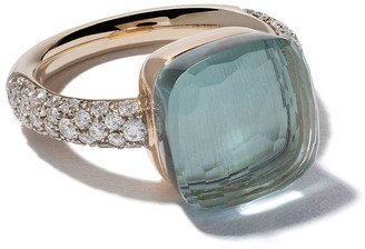 Pomellato 18kt rose and white gold small Nudo topaz and diamond ring