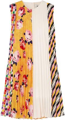 MSGM Paneled Pleated Printed Crepe Mini Dress