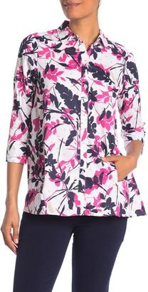 Foxcroft Carlene 3/4 Length Sleeve Back Button Leaf Print Shirt