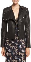 Diane von Furstenberg Warrior Asymmetric Leather Jacket, Black