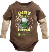"John Deere Baby Boy Dirt Makes Me Cuter"" Mock Layer Bodysuit"