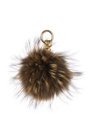 Popski London Raccoon Fur Pom Pom Keyring - Natural