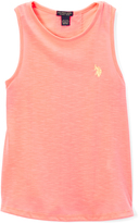 U.S. Polo Assn. Neon Light Coral Lace-Accent Tee - Toddler & Girls