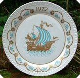 Spode Christmas Plate 1972 Ships Sailing