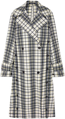 Rokh Double-breasted Lace-paneled Checked Jacquard Trench Coat