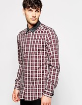 Antony Morato Check Shirt With Contrast Denim Collar - Red