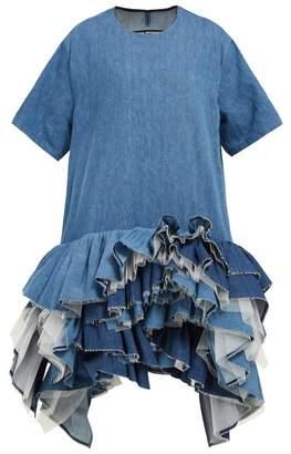 Junya Watanabe Ruffled Tulle-tier Cotton-blend Denim Dress - Womens - Blue