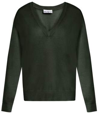 Raey V Neck Fine Knit Cashmere Sweater - Womens - Dark Green