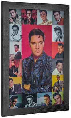 Crystal Art Vintage Elvis Presley Photo Collage Framed Wall Art